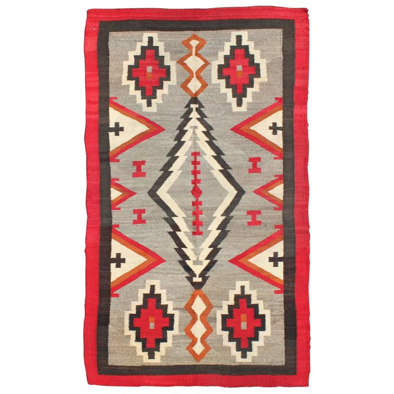 Antique Navajo Rug With Geometric Design At 1stdibs