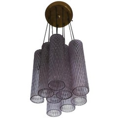 Italian Translucent Purple Murano Glass Column Pendant or Chandelier