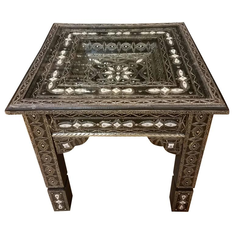 Metal / White Camel Bone Inlaid Moroccan Side Table For Sale