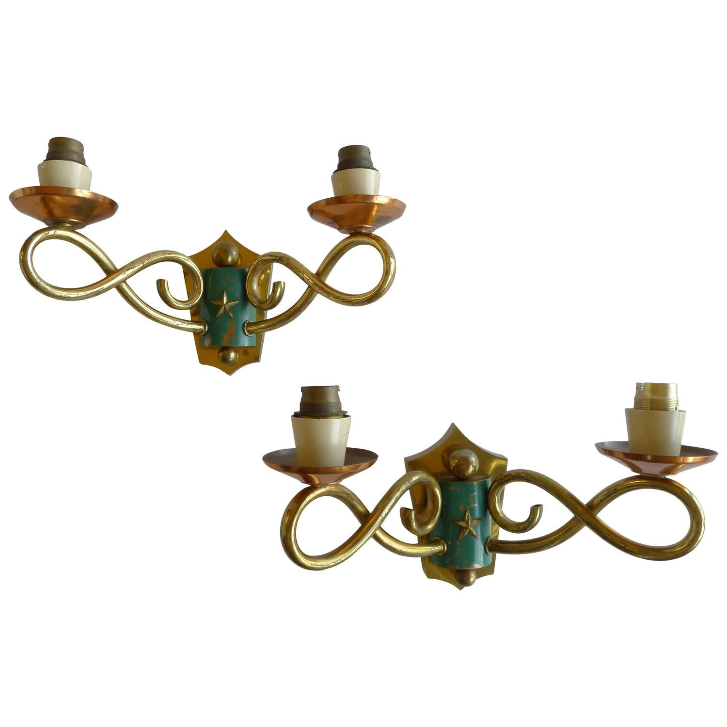 Brass Copper Wall Lights : 1930s French Regency Wall Sconces in Brass and Copper For Sale at 1stdibs