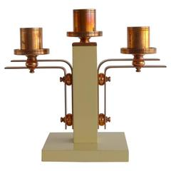 1930s French Art Deco Triple Candelabra in Lacquered Wood and Copper
