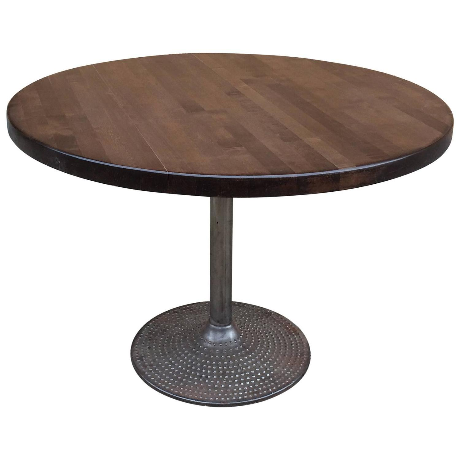 Round Ebonized Maple And Cast Iron Industrial Dining Table