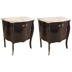 Pair of Hollywood Regency Style Ebonized Marble-Top Nightstands / End Tables