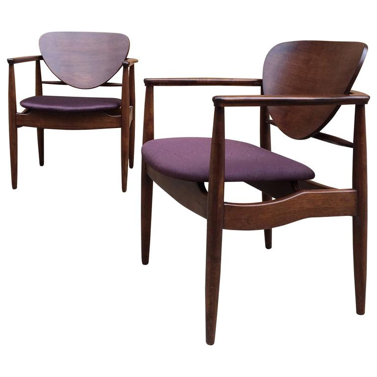 Pair Of Walnut Armchairs Attributed To Finn Juhl Sold By John Stuart For  Sale