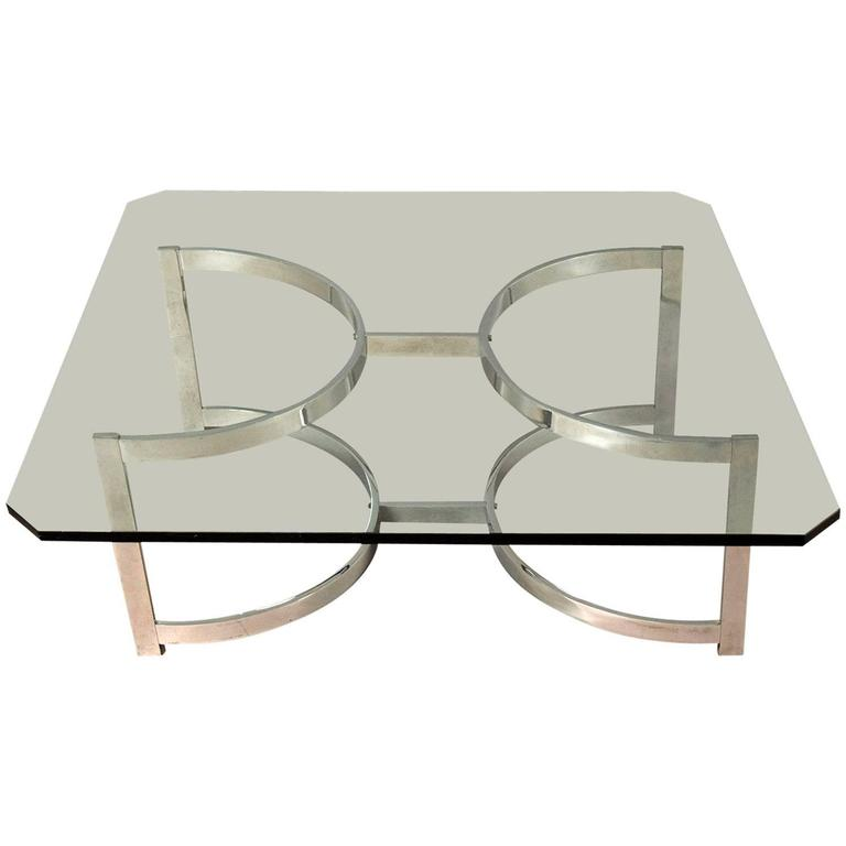 Mid-Century Chrome and Glass Coffee Table For Sale