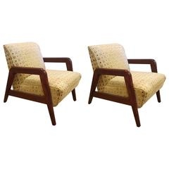 Pair of Mid-Century Modern Armchairs, One Rocker & One Lounge Chair