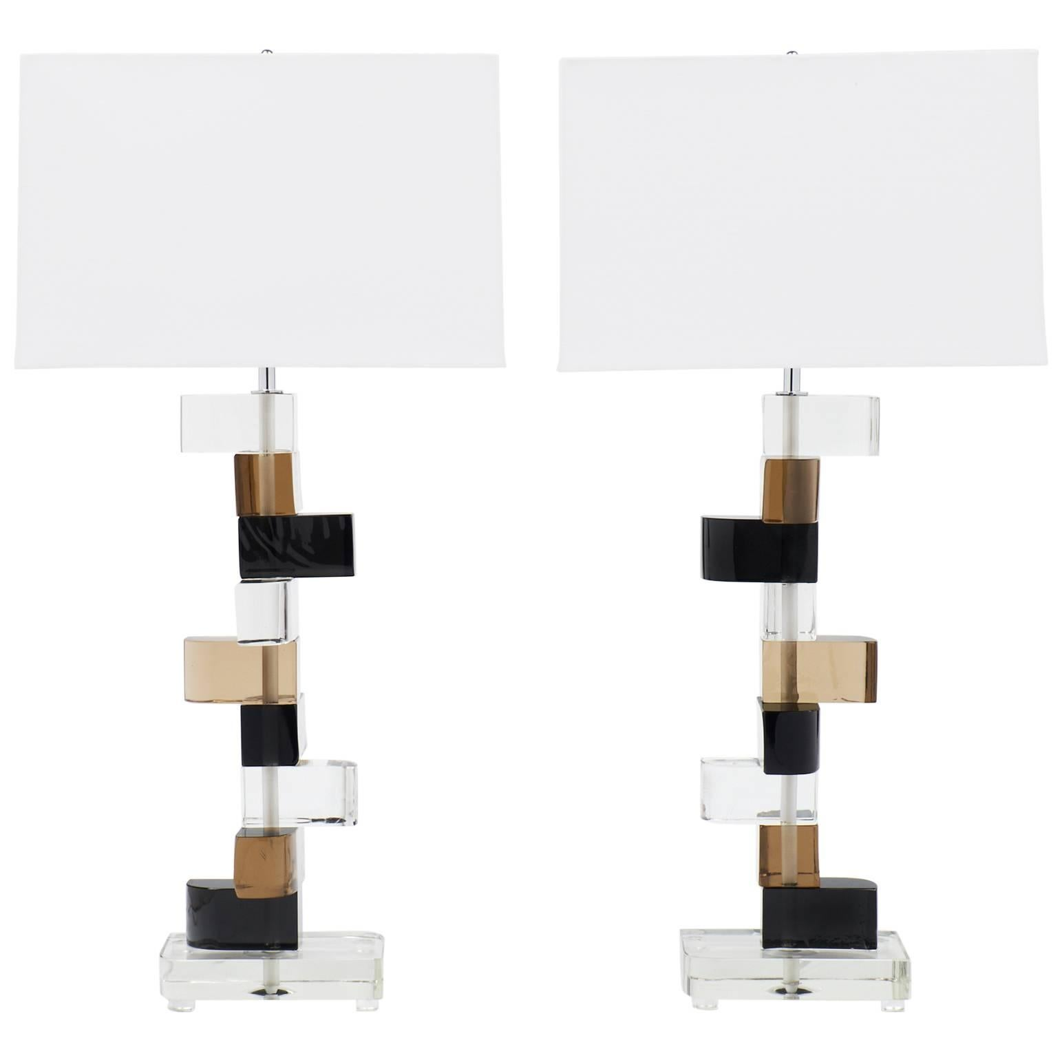 Pair of Murano Glass Stacked Blocks Table Lamps