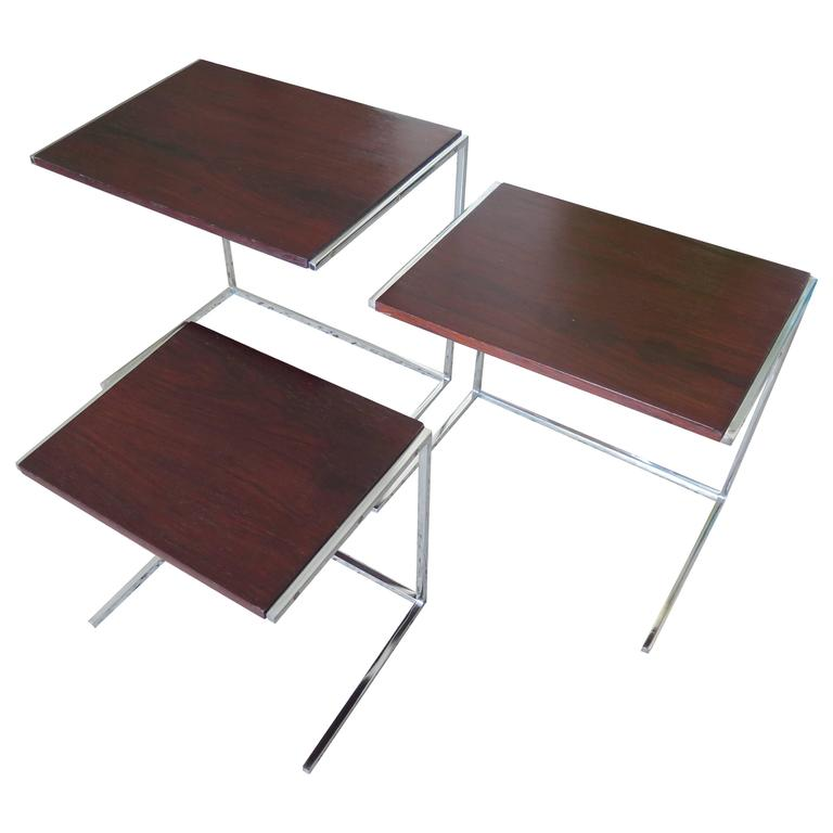 Set of Rosewood Nesting Tables For Sale