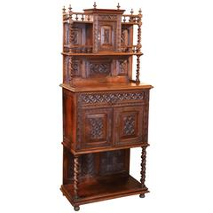French Walnut Cabinet in Renaissance Style 19th Century