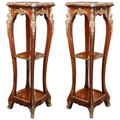 Pair of Tall French Marble-Top Pedestals with Ormolu Mounts and Cabriole Legs