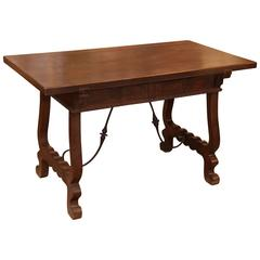 Spanish Work Table/Desk with Iron Stretcher, 18th Century with Ox Bow Ends