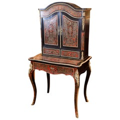 French Boulle Bookcase or Desk with Bronzed Marquetry