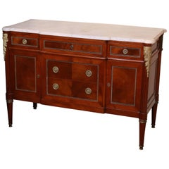 Louis XVI 19th Century Marble-Top Chest of Drawers or Commode, Mahogany