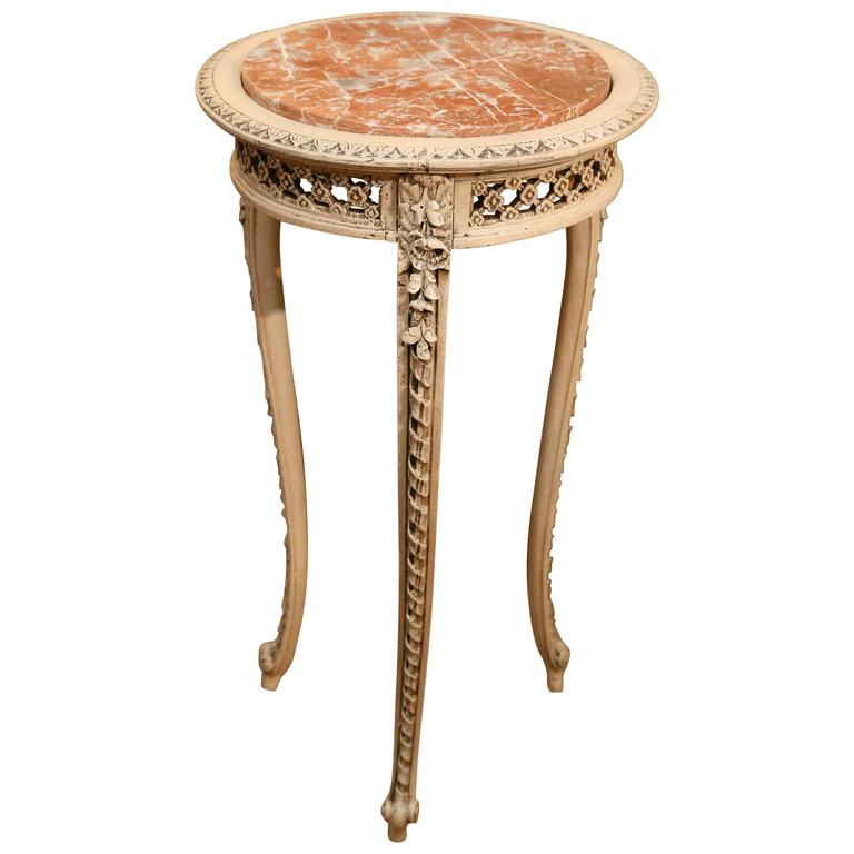 French Painted Occasional Round Table, 19th Century with Marble Top, Louis XV