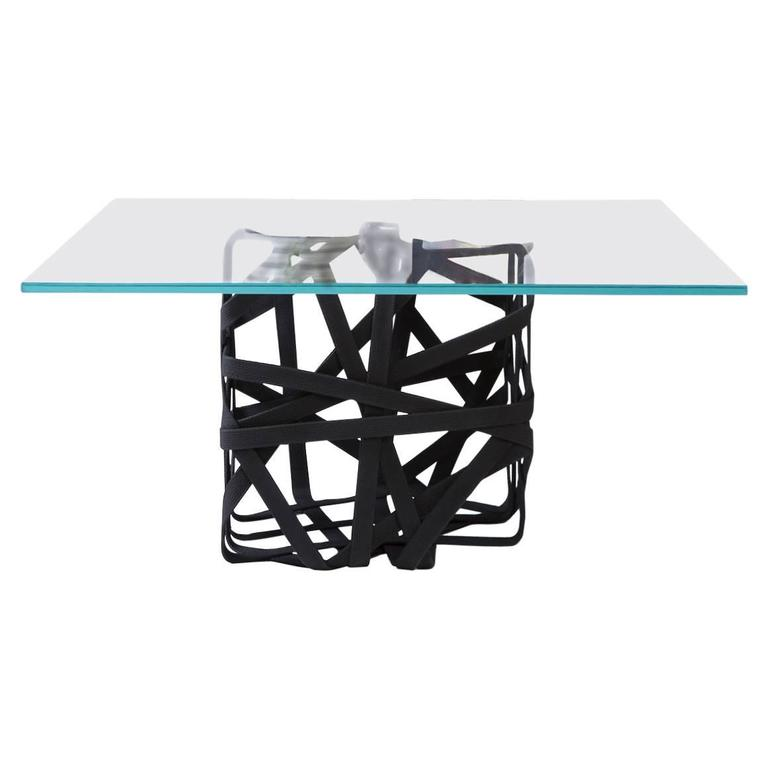 Woven Cube Coffee Table With Glass Surface For Sale At 1stdibs