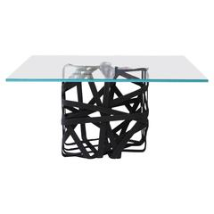 """Woven"" Cube Coffee Table with Glass Surface"
