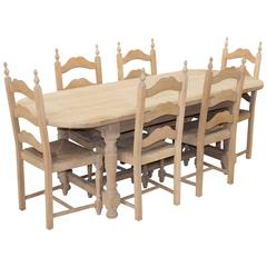 Vintage French Oak Oval Table and Six Chairs