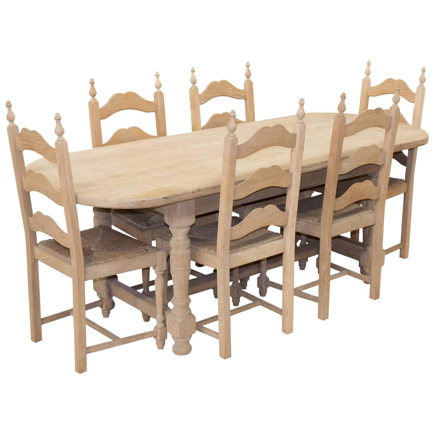 Antique Dining Room Table Chairs: Vintage French Oak Oval Table And Six Chairs For Sale At