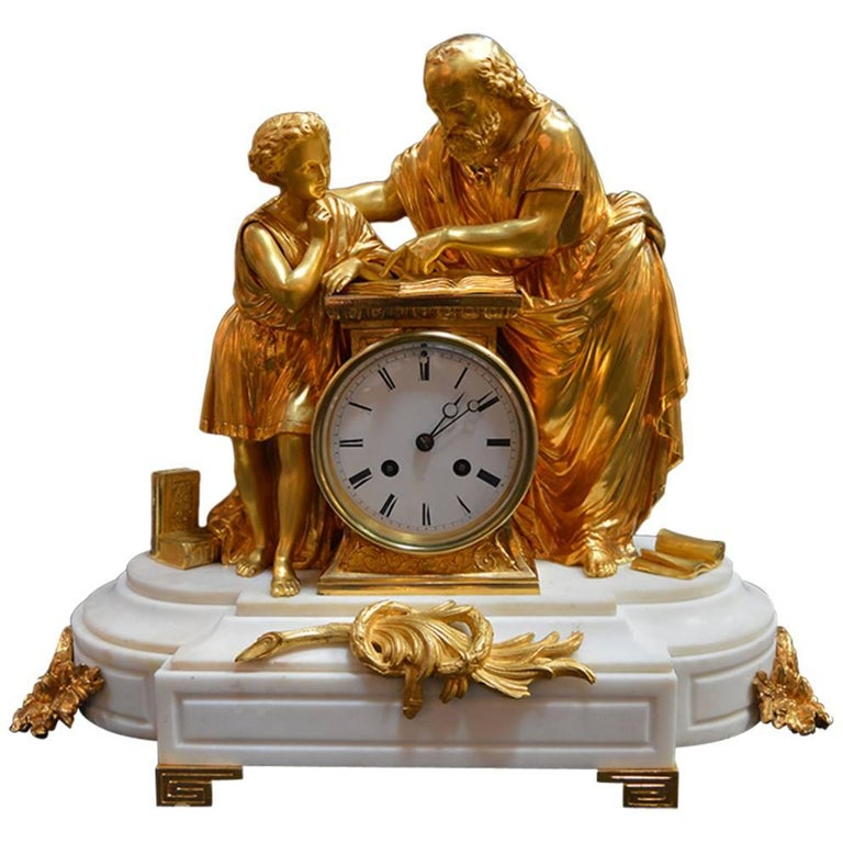 19th Century French Doré Bronze and White Marble Figural Clock For Sale