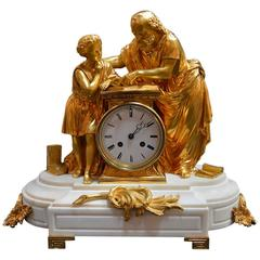19th Century French Doré Bronze and White Marble Figural Clock