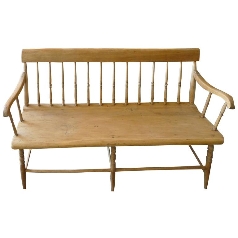 English 19th Century Small Pine Bench, with Back and Side Arms and Six Legs