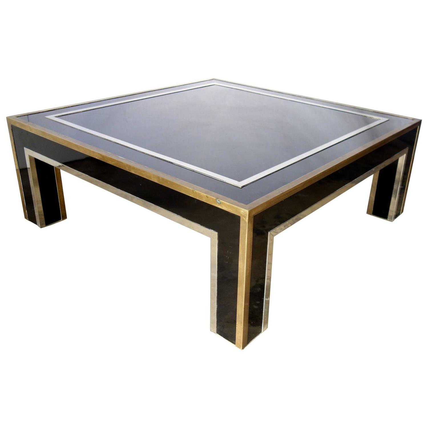 Italian mid century black square metal coffee table with chrome and brass trim at 1stdibs Black and chrome coffee table
