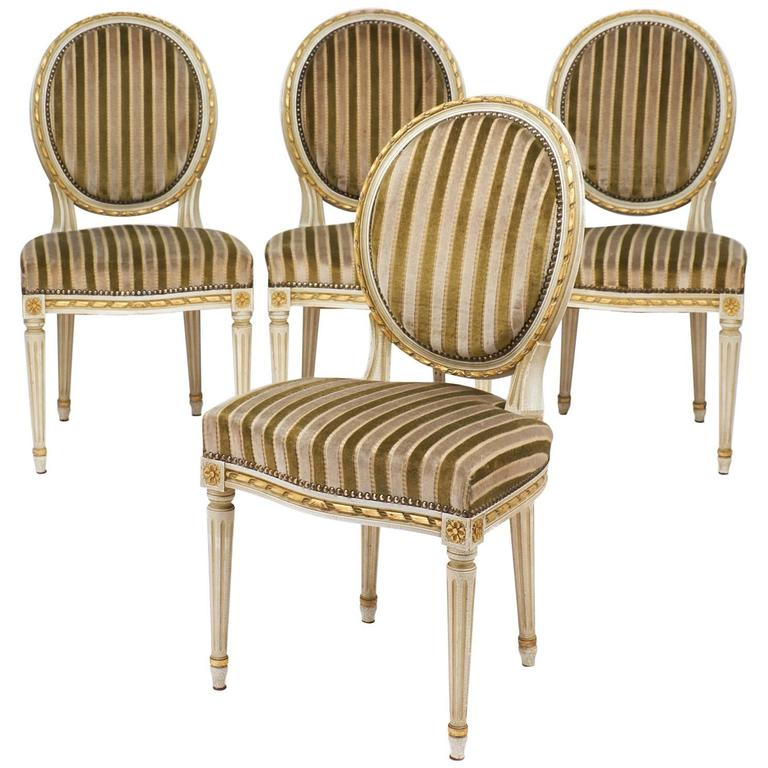 Gold Leaf Striped Velvet Set Of Four Antique Louis XVI Dining Chairs For Sale