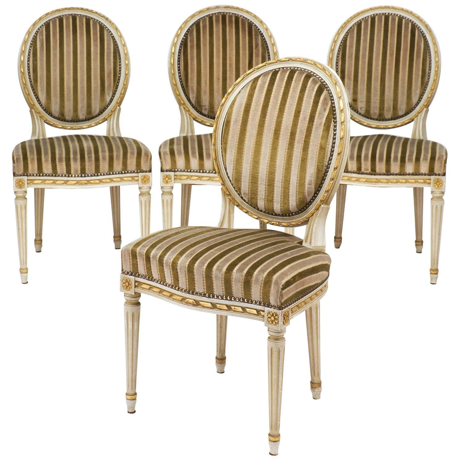Gold Leaf Striped Velvet Set of Four Antique Louis XVI Dining