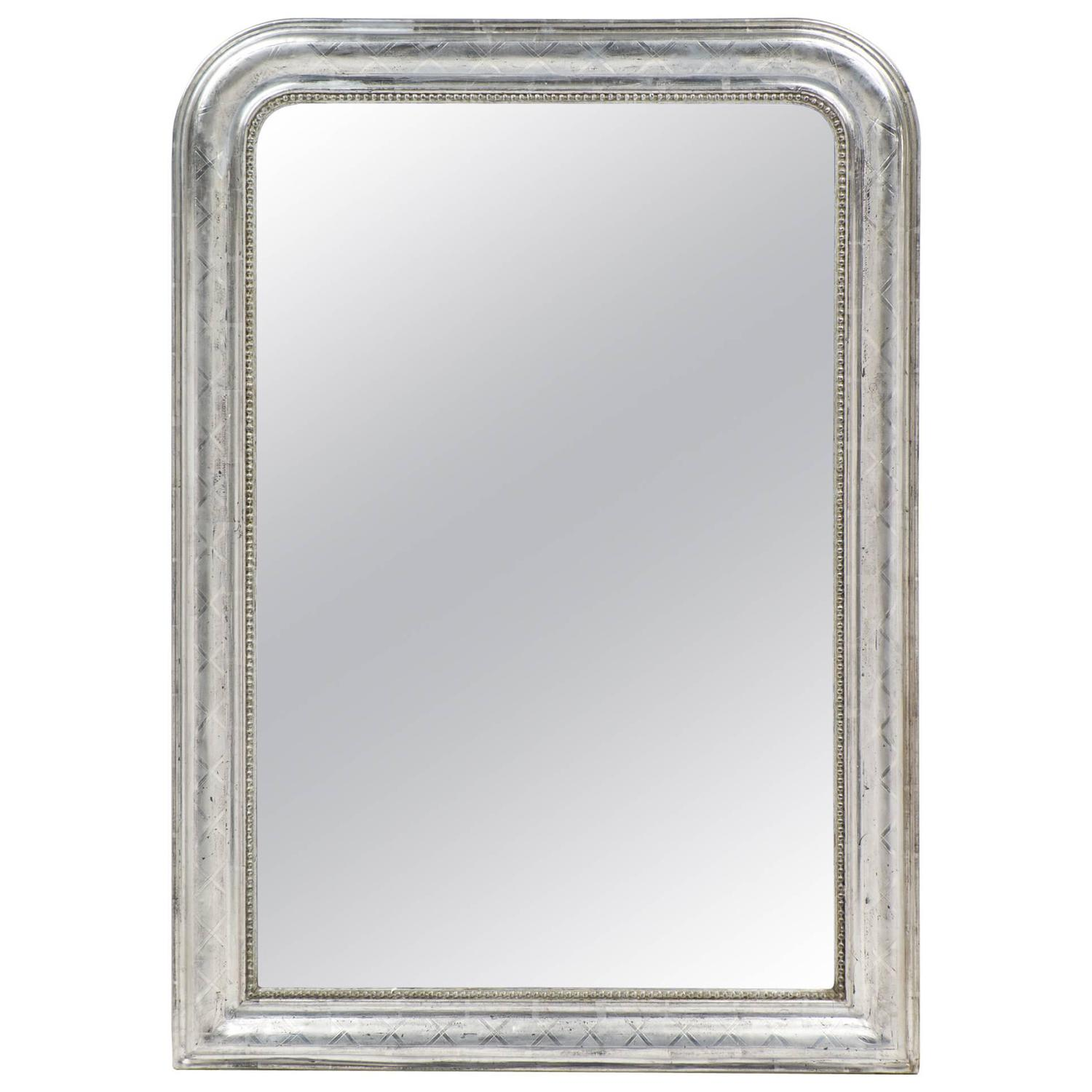 French louis philippe etched silver leaf mirror for sale for Silver mirrors for sale