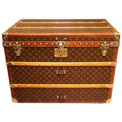 1930s Louis Vuitton Monogram Canvas and Brass Fittings Hat Trunk