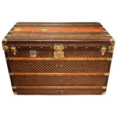 1890s Extra Large Louis Vuitton Checkers Monogram Steamer Trunk, Leather Trim