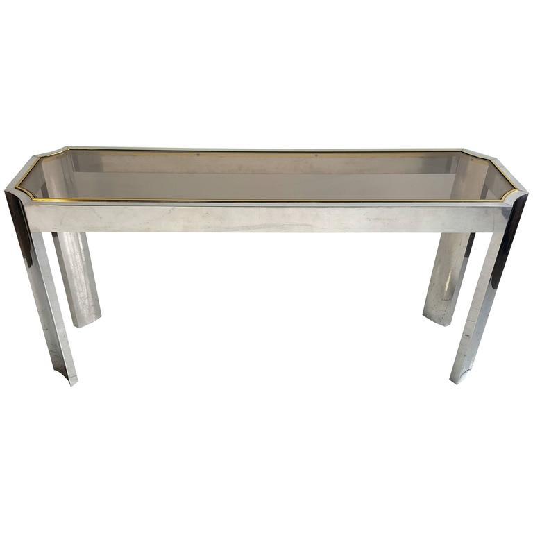 Elegant Aluminium, Brass and Glass Console or Sofa Table