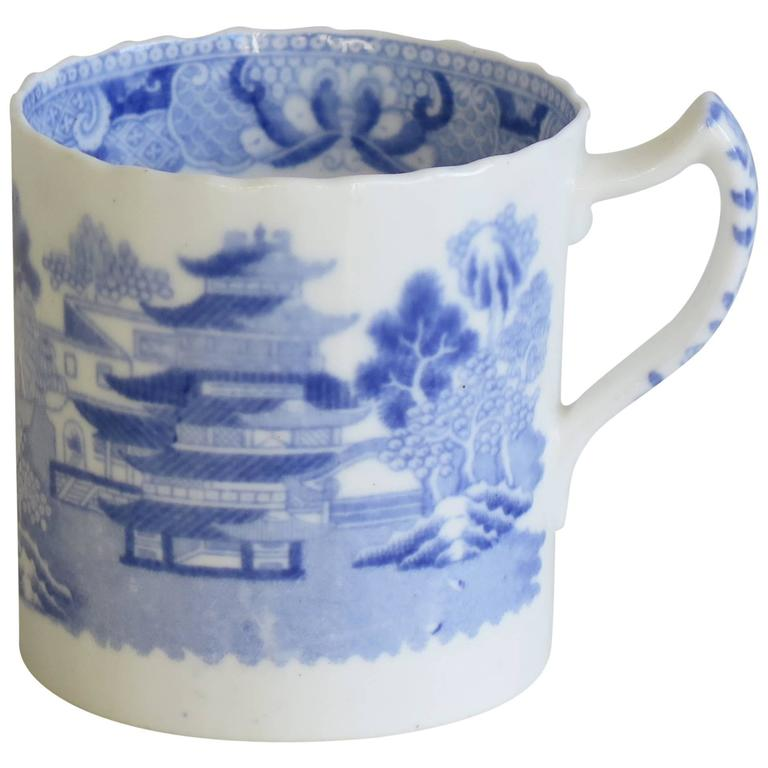 Georgian Spode Porcelain Coffee Can Blue and White Temple Pattern, Circa 1805