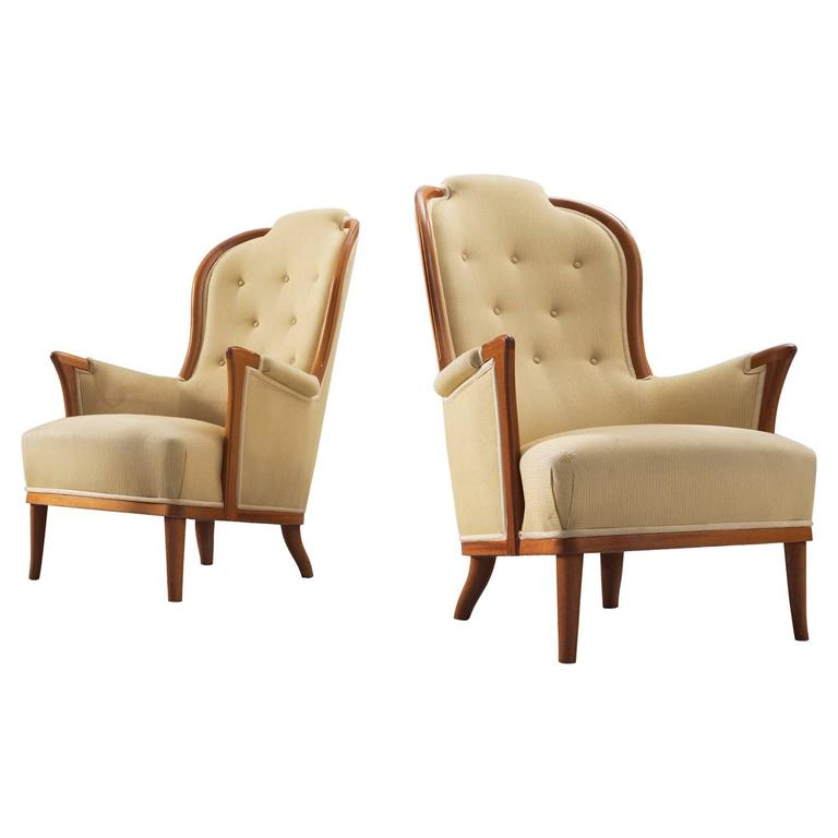 Carl Malmsten Set of Two 'Farmor' Lounge Chairs with Original Upholstery