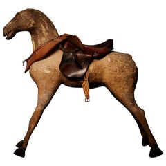 Charming French Papier Mache and Wood Large Antique Horse, 19th Century
