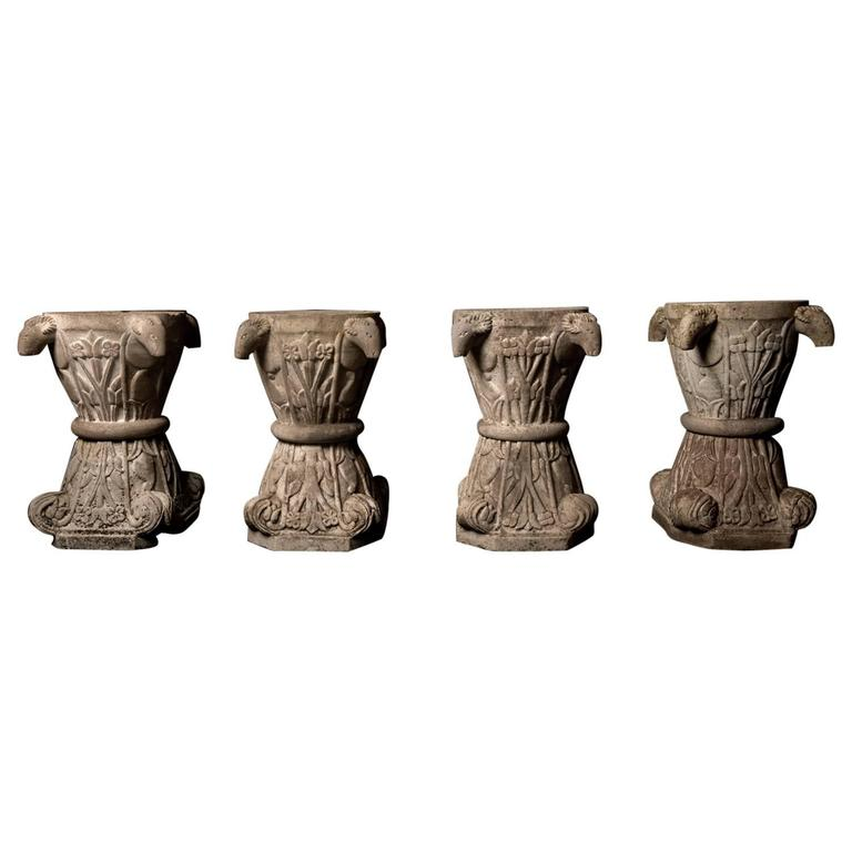 Unusual Set of Four Italian Ram's Head Carved Marble Urns, 18th-19th Century For Sale