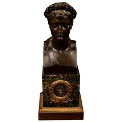 Patinated Bronze Bust of Napoleon as Caesar with Marble and Ormolu Base