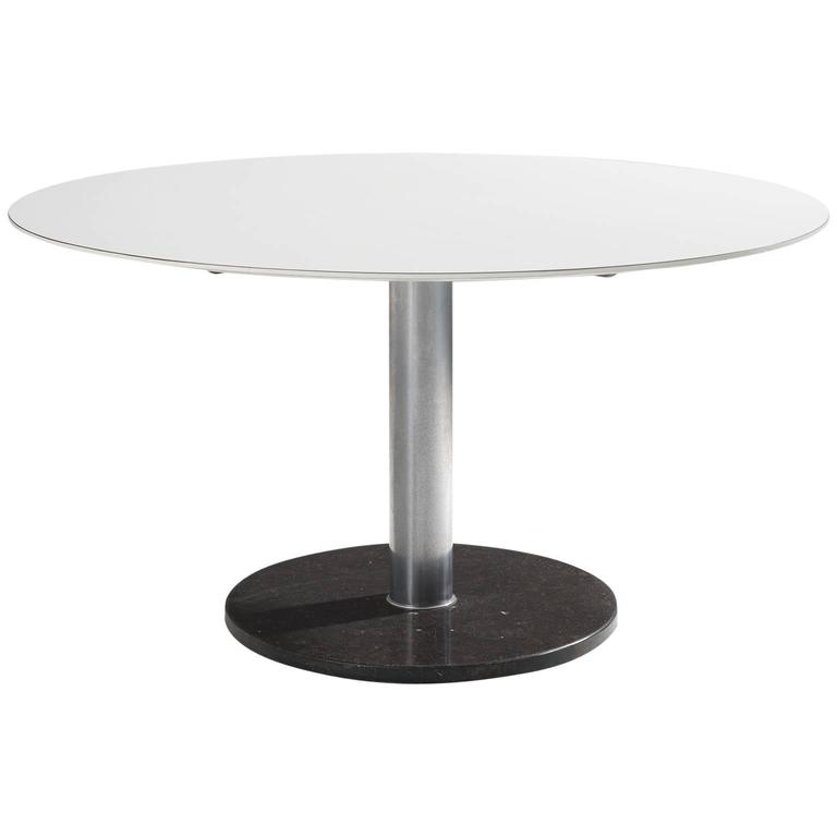 alfred hendrickx white round pedestal dining table with marble for