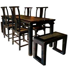 Chinese Dining Table and Chairs and Benches Suite Ming Style Solid Elm Seven