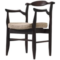 Guillerme & Chambron Dark Stained Oak Armchair