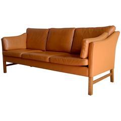 Stunning Borge Mogensen Style Leather Sofa by Takashi Okamura for Svend Skipper