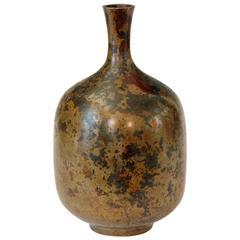 Vintage Japanese Bronze Patinated Bottle Vase
