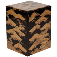 Japanese Black Lacquer Jubako Box with Stork Motif