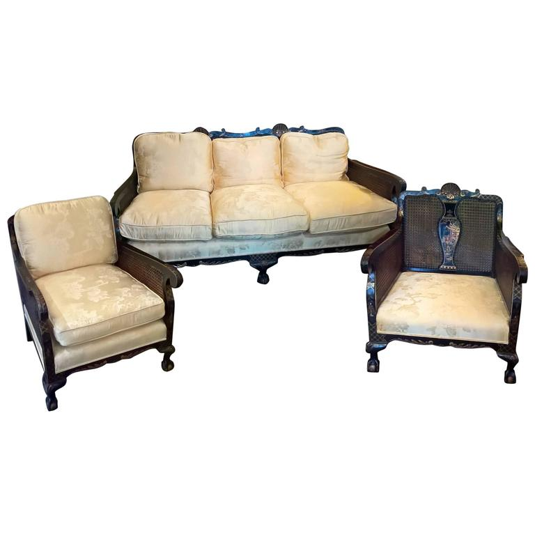Chinoiserie Bergere Three Piece Suite At 1stdibs
