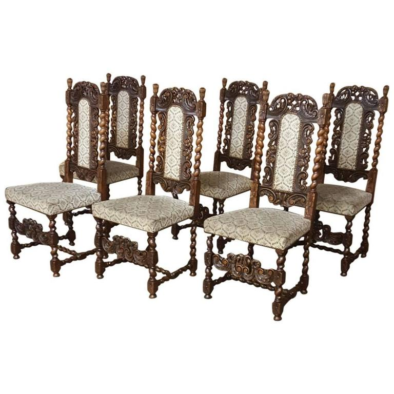 Set Of Six 19th Century Renaissance Pierce Carved Barley Twist Dining Chairs  For Sale