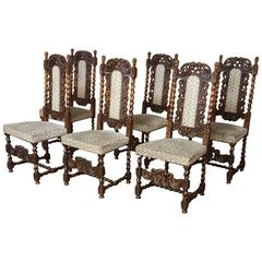 Set of Six 19th Century Renaissance Pierce-Carved Barley Twist Dining Chairs