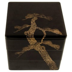 Japanese Showa Black Lacquer Bento Box