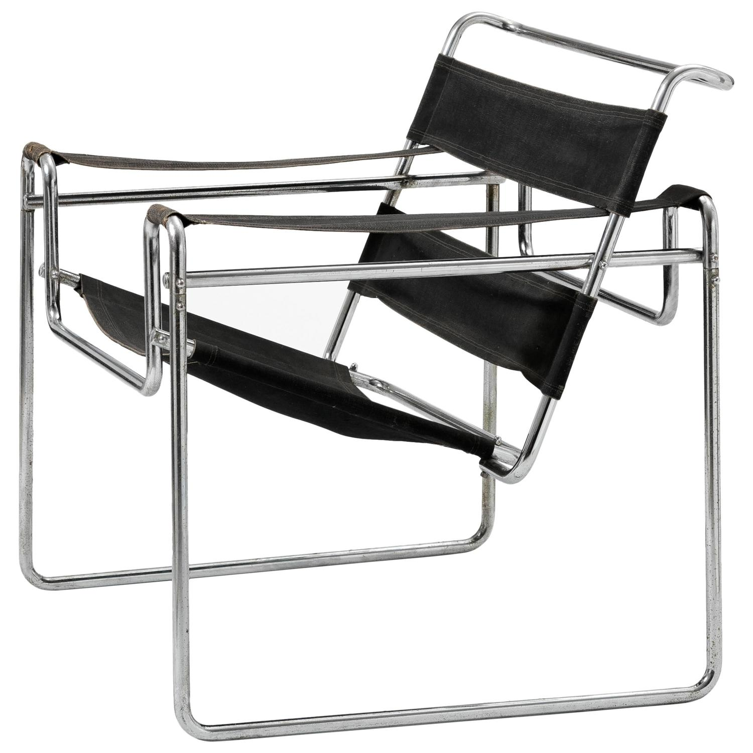 Elegant Very Early Wassily Chair, Model B3 By Marcel Breuer For Sale At 1stdibs
