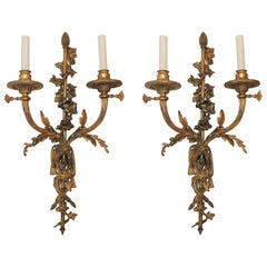 Wonderful Pair French Gilt Doré Bronze Filigree Ribbon Tassel Two-Light Sconces