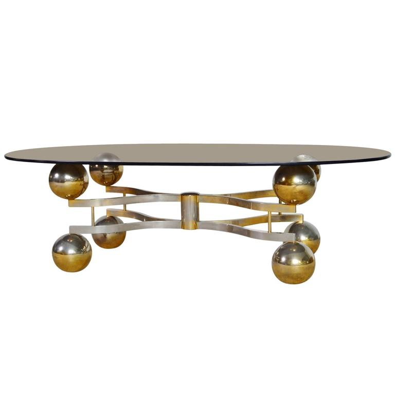 Atomic Chrome Coffee Table With Brass Finish And Smoke Glass Germany 1970s For Sale At 1stdibs